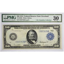 Fr. 1039b. 1914 $50 Federal Reserve Note. Blue Seal. Cleveland. PMG Very Fine 30.