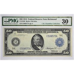 Fr. 1040. 1914 $50 Federal Reserve Note. Blue Seal. Richmond. PMG Very Fine 30.