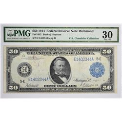 Fr. 1042. 1914 $50 Federal Reserve Note. Blue Seal. Richmond. PMG Very Fine 30.
