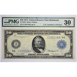 Fr. 1043. 1914 $50 Federal Reserve Note. Blue Seal. Richmond. PMG Very Fine 30.