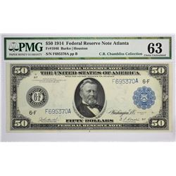Fr. 1046. 1914 $50 Federal Reserve Note. Blue Seal. Atlanta. PMG Choice Uncirculated 63.