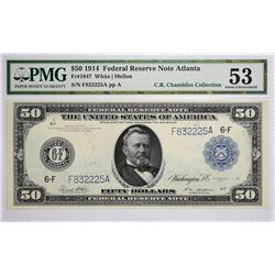 Fr. 1047. 1914 $50 Federal Reserve Note. Blue Seal. Atlanta. PMG About Uncirculated 53.