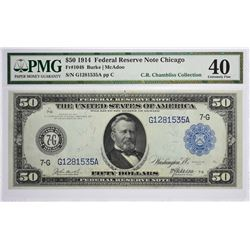 Fr. 1048. 1914 $50 Federal Reserve Note. Blue Seal. Chicago. PMG Extremely Fine 40.