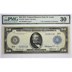 Fr. 1052. 1914 $50 Federal Reserve Note. Blue Seal. St. Louis. PMG Very Fine 30.