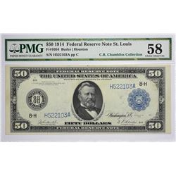 Fr. 1054. 1914 $50 Federal Reserve Note. Blue Seal. St. Louis. PMG Choice About Uncirculated 58.