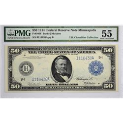 Fr. 1056. 1914 $50 Federal Reserve Note. Blue Seal. Minneapolis. PMG About Uncirculated 55.