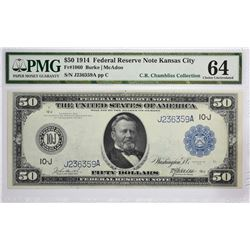 Choice Uncirculated $50 Kansas City Offering Fr. 1060. 1914 $50 Federal Reserve Note. Blue Seal. Kan