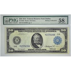Fr. 1064. 1914 $50 Federal Reserve Note. Blue Seal. Dallas. PMG Choice About Uncirculated 58. A rare