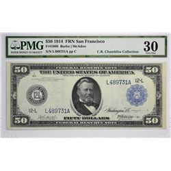 Fr. 1068. 1914 $50 Federal Reserve Note. Blue Seal. San Francisco. Very Fine 30.