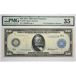 Fr. 1070. 1914 $50 Federal Reserve Note. Blue Seal. San Francisco. Choice Very Fine 35.