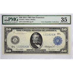 Fr. 1071. 1914 $50 Federal Reserve Note. Blue Seal. San Francisco. Choice Very Fine 35.