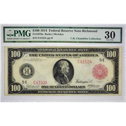 "Second Finest PMG Certified Richmond Type ""a"" $100 Federal Reserve Note"