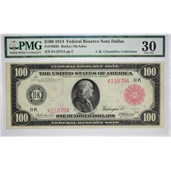 Highly Rare Dallas 1914 $100 Federal Reserve Note