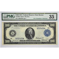 Fr. 1084. 1914 $100 Federal Reserve Note. Blue Seal. Boston. PMG Choice Very Fine 35.