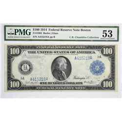 Finest PMG Certified $100 Boston Burke - Glass Signature Fr. 1085. 1914 $100 Federal Reserve Note. B