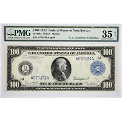 Fr. 1087. 1914 $100 Federal Reserve Note. Blue Seal. Boston. PMG Choice Very Fine 35 Net. Rust, Mino
