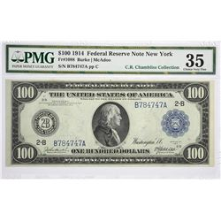 Fr. 1088. 1914 $100 Federal Reserve Note. Blue Seal. New York. PMG Choice Very Fine 35.