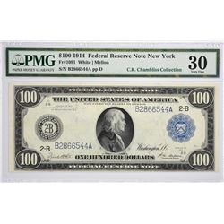 Fr. 1091. 1914 $100 Federal Reserve Note. Blue Seal. New York. PMG Very Fine 30.