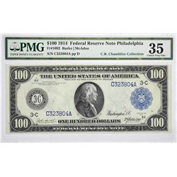Fr. 1092. 1914 $100 Federal Reserve Note. Blue Seal. Philadelphia. PMG Choice Very Fine 35.