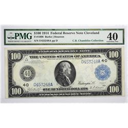Fr. 1098. 1914 $100 Federal Reserve Note. Blue Seal. Cleveland. PMG Extremely Fine 40.