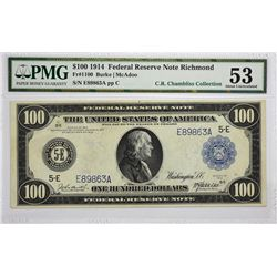 Fr. 1100. 1914 $100 Federal Reserve Note. Blue Seal. Richmond. PMG About Uncirculated 53.