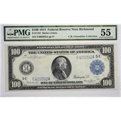 Significant Burke - Glass $100 Richmond Note Fr. 1101. 1914 $100 Federal Reserve Note. Blue Seal. Ri