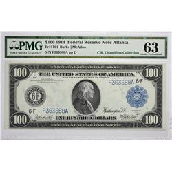 Fr. 1104. 1914 $100 Federal Reserve Note. Blue Seal. Atlanta. PMG Choice Uncirculated 63.