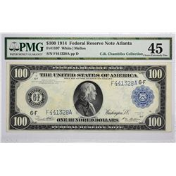 Fr. 1107. 1914 $100 Federal Reserve Note. Blue Seal. Atlanta. PMG Choice Extremely Fine 45.