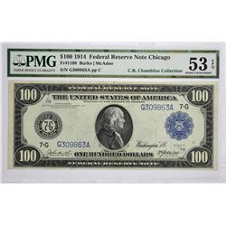 Fr. 1108. 1914 $100 Federal Reserve Note. Blue Seal. Chicago. PMG About Uncirculated 53 EPQ.
