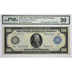 Fr. 1110. 1914 $100 Federal Reserve Note. Blue Seal. Chicago. PMG Very Fine 30.
