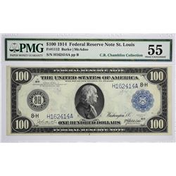 Fr. 1112. 1914 $100 Federal Reserve Note. Blue Seal. St. Louis. PMG About Uncirculated 55.