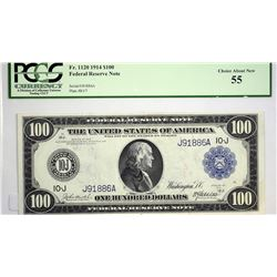 Fr. 1120. 1914 $100 Federal Reserve Note. Blue Seal. Kansas City. PCGS Choice About New 55. These Ka