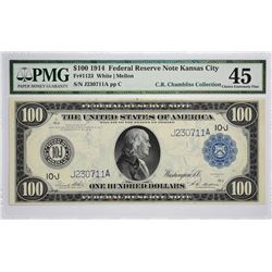 Fr. 1123. 1914 $100 Federal Reserve Note. Blue Seal. Kansas City. PMG Choice Extremely Fine 45.