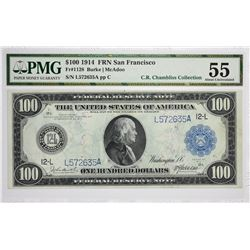 Fr. 1128. 1914 $100 Federal Reserve Note. Blue Seal. San Francisco. PMG About Uncirculated 55.