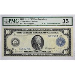 Fr. 1130. 1914 $100 Federal Reserve Note. Blue Seal. San Francisco. PMG Choice Very Fine 35.