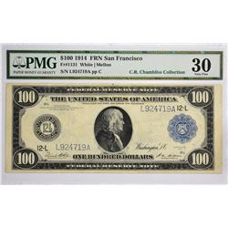 Fr. 1131. 1914 $100 Federal Reserve Note. Blue Seal. San Francisco. PMG Very Fine 30.