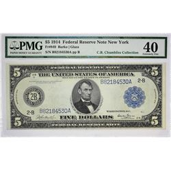 Lot of (3) 1914 $5 Federal Reserve Notes. Blue Seals. PMG Graded. Three New York notes including; Fr