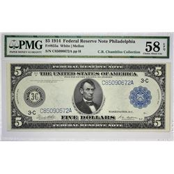 Lot of (3) 1914 $5 Federal Reserve Notes. Blue Seals. PMG Graded. A complete White - Mellon set of P