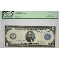 Lot of (4) 1914 $5 Federal Reserve Notes. Blue Seals. PMG Graded. A nice quartet with the following;