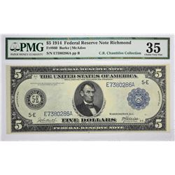 Lot of (5) 1914 $5 Federal Reserve Notes. Blue Seals. PMG. Graded. Includes the following; Fr. 860 i