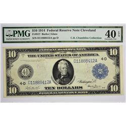 Lot of (3) 1914 $10 Federal Reserve Notes. Blue Seals. PMG. Graded. A trio of Cleveland $10 notes wi