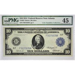 Lot of (4) 1914 $10 Federal Reserve Notes. Blue Seals. PMG Graded. A nice Atlanta grouping with the