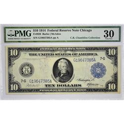 Lot of (5) 1914 $10 Federal Reserve Notes. Blue Seals. PMG Graded. Five Chicago $10 notes with the f