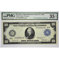 Lot of (4) 1914 $10 Federal Reserve Notes. Blue Seals. PMG Graded. A quartet of St. Louis notes with