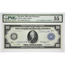 Lot of (6) 1914 $10 Federal Reserve Notes. Blue Seals. PMG Graded. A nice assortment of $10 notes wi