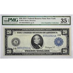Lot of (3) 1914 $20 Federal Reserve Notes. Blue Seals. PMG. Graded. Includes the following $20 notes