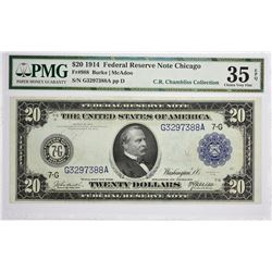 Lot of (2) 1914 $20 Federal Reserve Notes. Blue Seals. PMG. Graded.