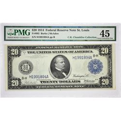 Lot of (3) 1914 $20 Federal Reserve Notes. Blue Seals. PMG. Graded. A nice trio with the following;
