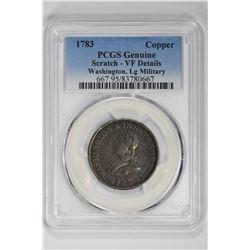 1783 Copper Genuine Washington, Lg Military. VF Details PCGS
