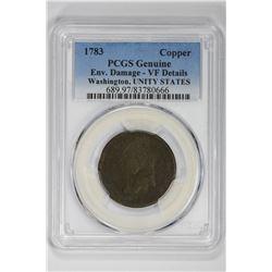1783 Copper Genuine Washington, UNIY STATE. VF Details PCGS